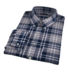 Navy and Cinder Large Plaid Flannel Custom Dress Shirt