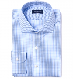 Canclini 120s Light Blue Medium Grid Fitted Dress Shirt