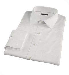 Albini White Oxford Chambray Fitted Dress Shirt