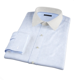140s Light Blue Wrinkle-Resistant Bengal Stripe Fitted Dress Shirt