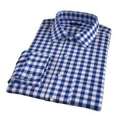 100s Royal Blue Blue Large Gingham Custom Made Shirt