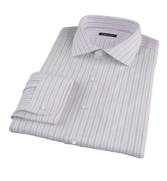 Canclini 120s Lavender Brown Stripe Fitted Shirt