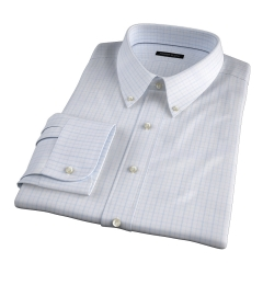 Verona Light Blue 100s Border Grid Men's Dress Shirt