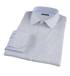Thomas Mason Light Blue Border Grid Men's Dress Shirt