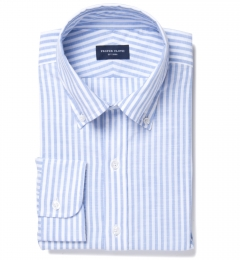 Albini Light Blue Chambray Stripe Fitted Dress Shirt