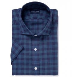 Warren Navy Tonal Plaid Dress Shirt