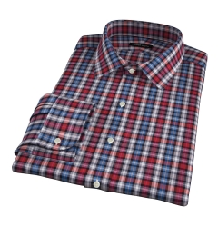 Vincent Red and Orange Plaid Fitted Dress Shirt
