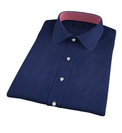 Portuguese Vintage Navy Cotton Linen Herringbone Short Sleeve Shirt