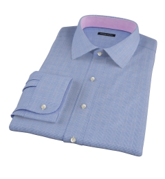 Dark Blue Glen Plaid Men's Dress Shirt