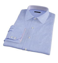 140s Navy Wrinkle-Resistant Stripe Dress Shirt