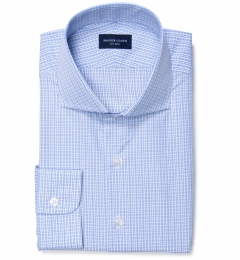 Jones 120s Blue Multi Check Dress Shirt
