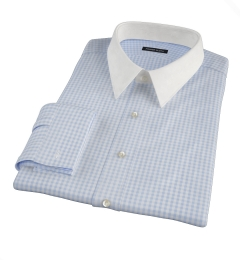 Light Blue Medium Gingham Fitted Dress Shirt