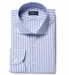 Blue 120s End-on-End Stripe Fitted Dress Shirt