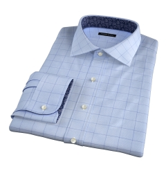 Thomas Mason Blue and Blue Prince of Wales Check Custom Made Shirt