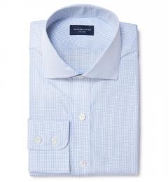 Thomas Mason Light Blue Small Grid Fitted Dress Shirt