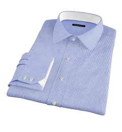140s Navy Wrinkle-Resistant Stripe Custom Made Shirt