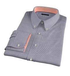 Carmine Black Horizontal Stripe Men's Dress Shirt