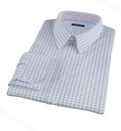 Thomas Mason Dark Blue Grid Fitted Shirt