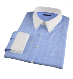 Carmine Blue Pink Prince of Wales Check Fitted Dress Shirt