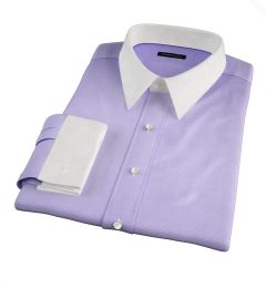 Thomas Mason Lavender Wrinkle-Resistant Houndstooth Fitted Shirt