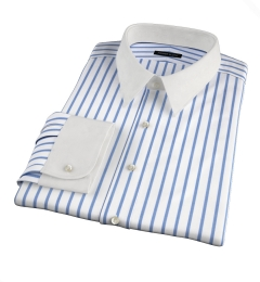 Canclini Slate Blue Wide Stripe Fitted Shirt