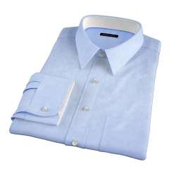 Light Blue Wrinkle-Resistant Rich Herringbone Dress Shirt