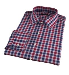 Vincent Crimson and Navy Plaid Men's Dress Shirt