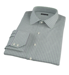 Canclini 120s Green Multi Gingham Fitted Dress Shirt