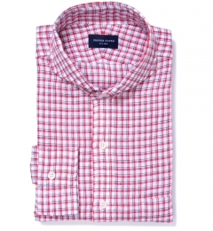 Canclini Red Blue Check Linen Custom Made Shirt