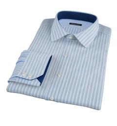 Light Blue Cotton Linen Stripe Tailor Made Shirt