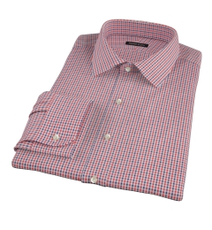 Canclini Red and Navy Multi Gingham Custom Dress Shirt
