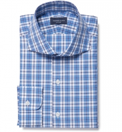 Siena Ocean Blue Multi Check Custom Dress Shirt