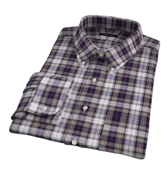 Jackson Brown and Navy Plaid Flannel Fitted Dress Shirt