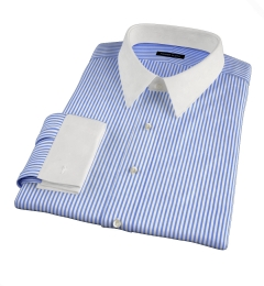 140s Navy Wrinkle-Resistant Bengal Stripe Tailor Made Shirt