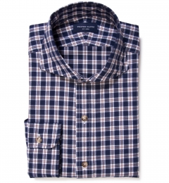 Brown Blue Tacoma Check Flannel Fitted Shirt