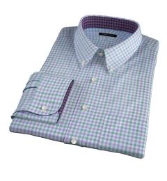 Thomas Mason Green and Lavender Multi Check Men's Dress Shirt