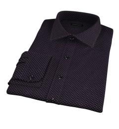White on Black Printed Pindot Men's Dress Shirt