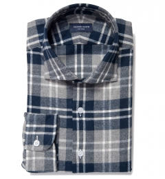 Navy and Cinder Large Plaid Flannel Dress Shirt