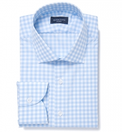 Melrose 120s Light Blue Gingham Custom Dress Shirt