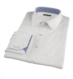 Albini Luxury White Lattice Grid Custom Dress Shirt