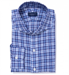 Canclini Navy Blue Plaid Linen Fitted Shirt