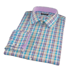 Aqua Brown Cotton Linen Check Fitted Dress Shirt