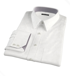 Thomas Mason White Luxury Broadcloth Fitted Dress Shirt