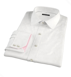 White Jacquard Weave Fitted Dress Shirt