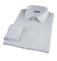 Thomas Mason Light Blue Small Grid Custom Dress Shirt