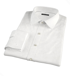 120s White Royal Herringbone Men's Dress Shirt