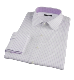 Albini Lavender Satin Stripe Fitted Dress Shirt