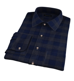 Canclini Navy Tonal Plaid Beacon Flannel Dress Shirt