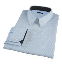 Light Blue Carmine Mini Check Men's Dress Shirt