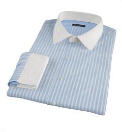 Canclini 120s Blue Reverse Bengal Stripe Men's Dress Shirt